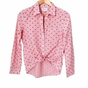 GAP Pink Fitted Boyfriend Shirt with Texture Dots
